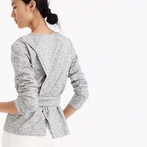 J. Crew Belted Crossback Top Gray XS Long Sleeve